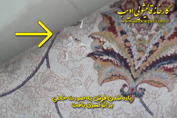 پاره شدن فرش بر اثر کسری بافت - کارخانه قالیشویی ادیب